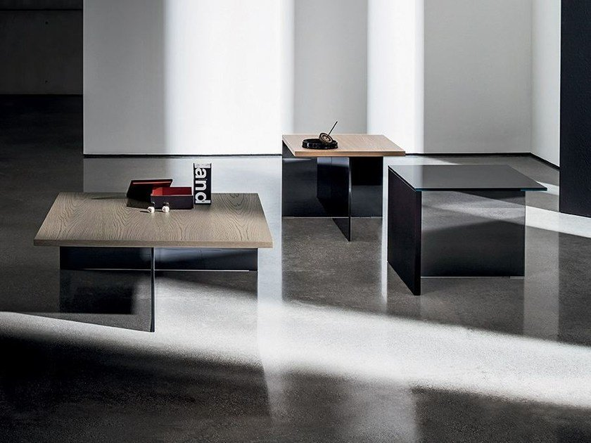 Square wood and glass coffee table REGOLO SQUARE by Sovet italia