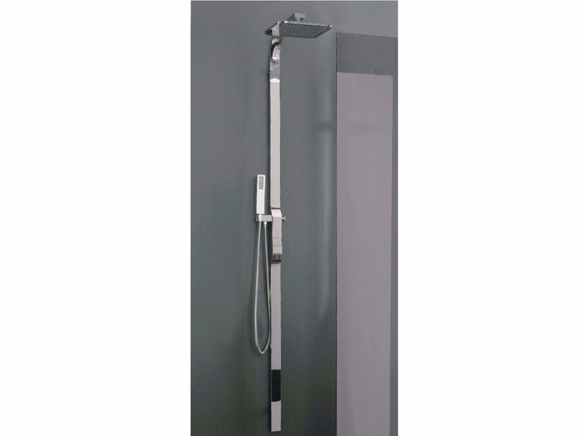 Wall-mounted shower panel with hand shower with overhead shower REM | Thermostatic shower panel - ZAZZERI