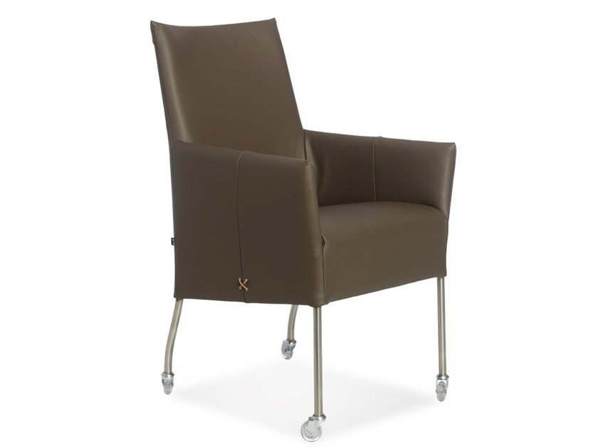 Upholstered easy chair with armrests with casters RENOIR | Easy chair - Joli