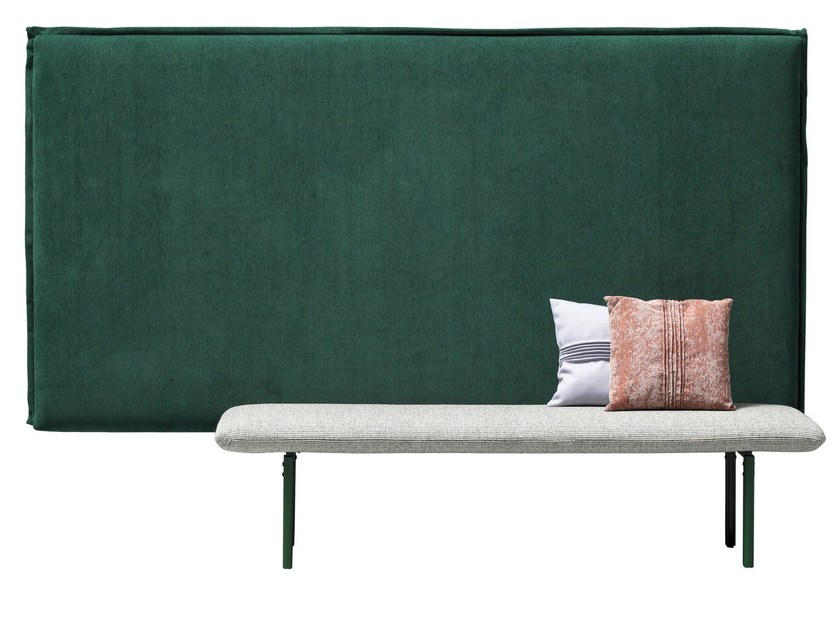 Upholstered fabric bench with back REW | Bench - SANCAL