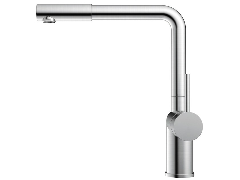 Brushed-finish stainless steel kitchen mixer tap RHYTHM RH-400 - Nivito