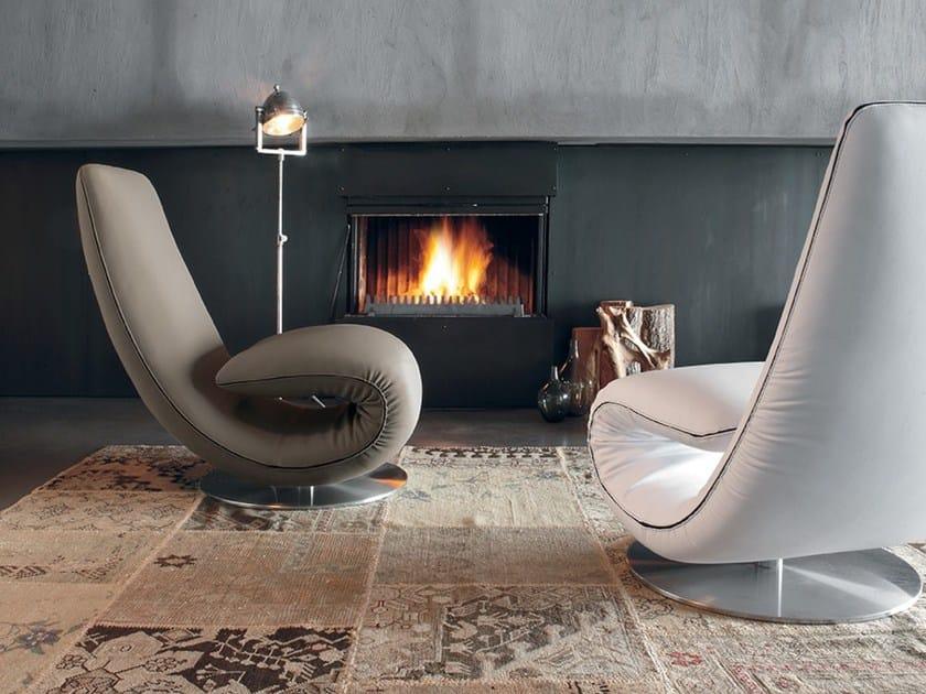 Leather armchair / lounge chair RICCIOLO | Leather armchair by Tonin Casa