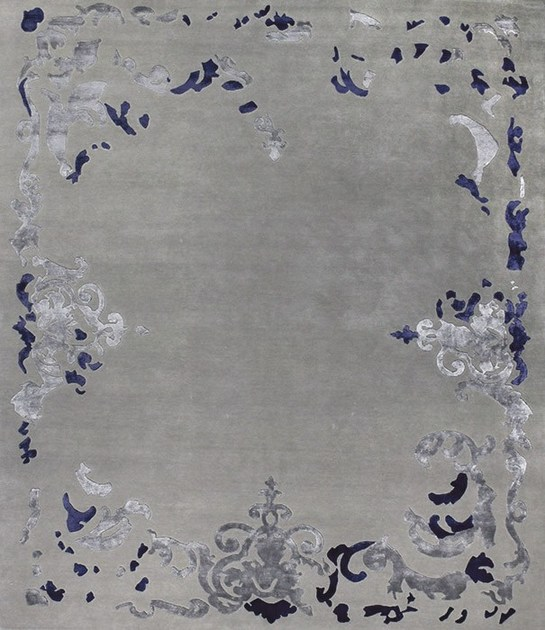 Patterned handmade rectangular rug RICHELIEU BLUE by EDITION BOUGAINVILLE