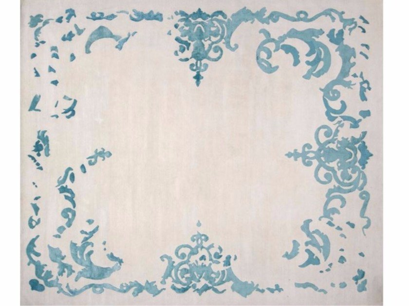 Patterned handmade rectangular rug RICHELIEU TURQUOISE by EDITION BOUGAINVILLE