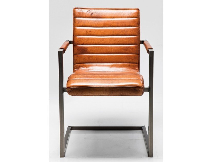 Cantilever upholstered leather chair RIFFLE BUFFALO BROWN - KARE-DESIGN