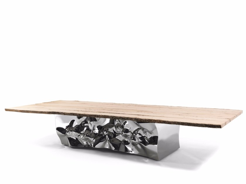 Rectangular stainless steel and wood table RIFLESSI IN LAGUNA - Riva 1920