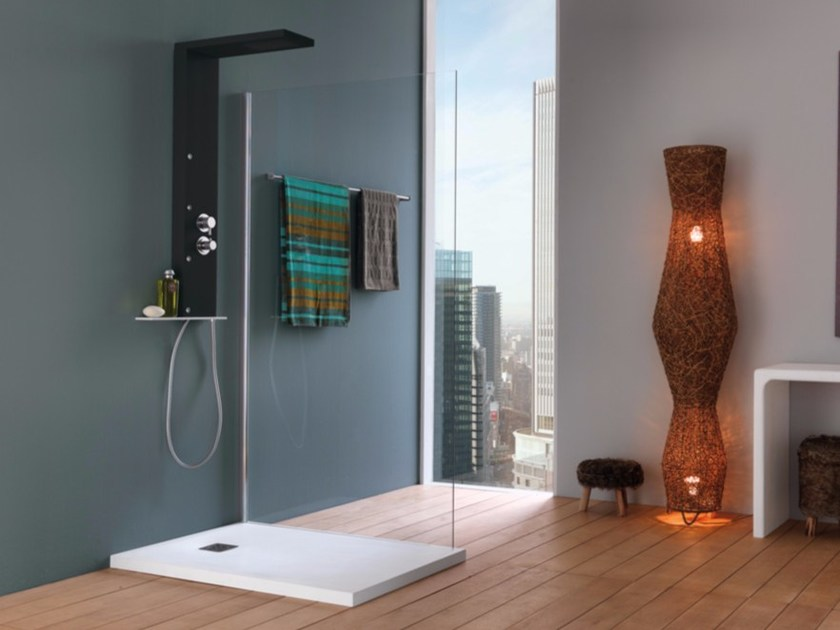 Wall-mounted shower panel with hand shower with overhead shower RIGAL - Samo