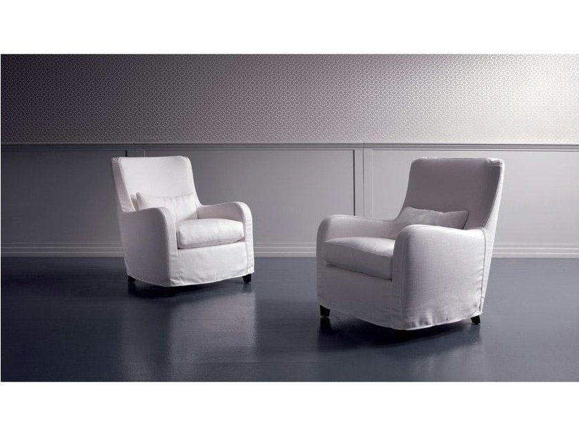 Fabric armchair with armrests RIMINI | Fabric armchair - Marac