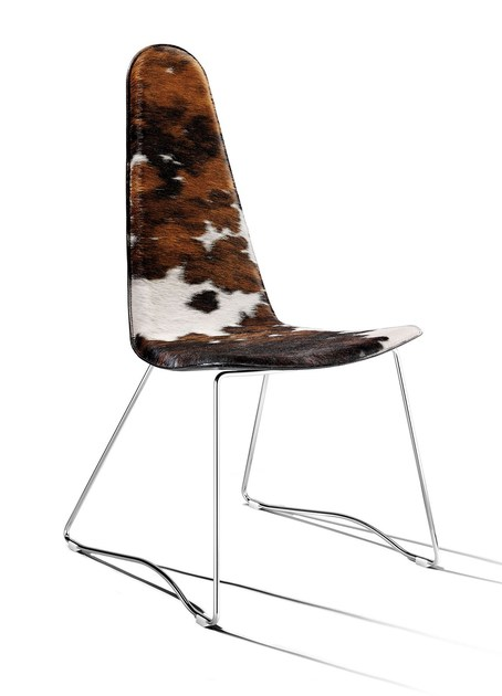 Contemporary style sled base high-back horse hide chair RITA   High-back chair - ITALY DREAM DESIGN - Kallisté