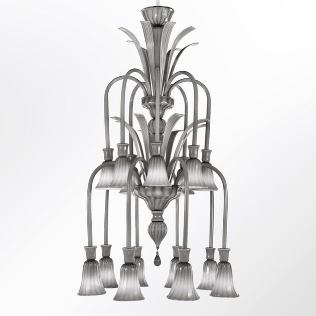 Deco handmade glass chandelier RITZ | Blown glass chandelier by MULTIFORME