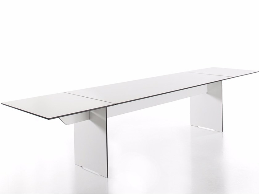Extending rectangular HPL dining table RIVA | Extending table - conmoto by Lions at Work