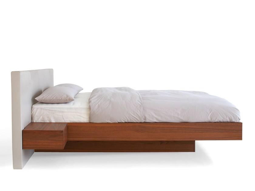 Wooden double bed with upholstered headboard RIVA by more
