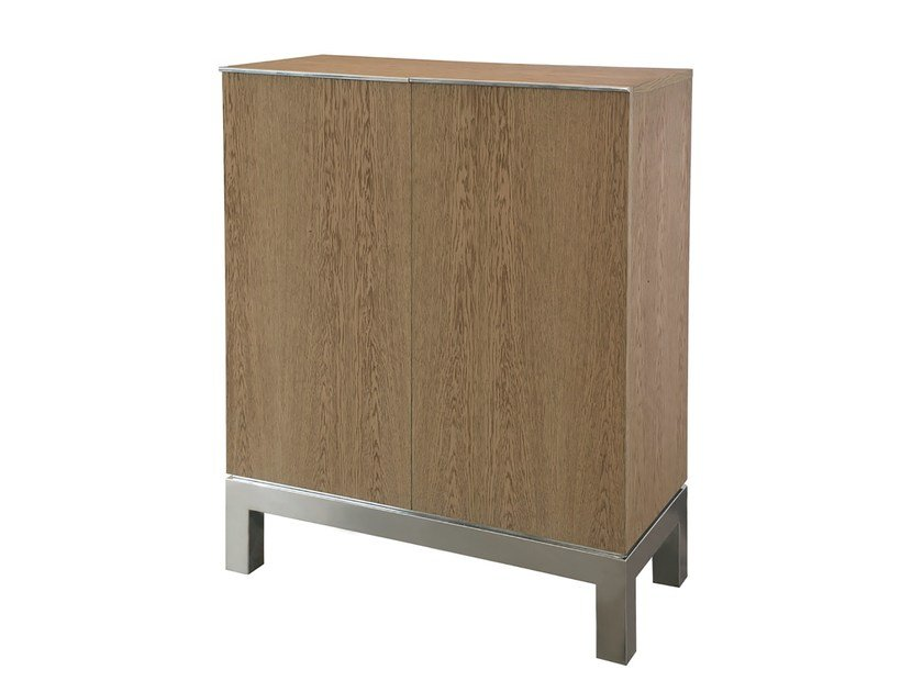 Wood veneer highboard with doors ROCHA - Branco sobre Branco
