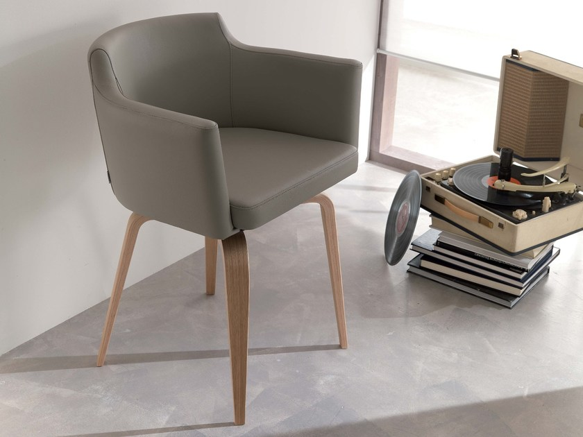 Upholstered leather easy chair with armrests ROCK - Ozzio Italia