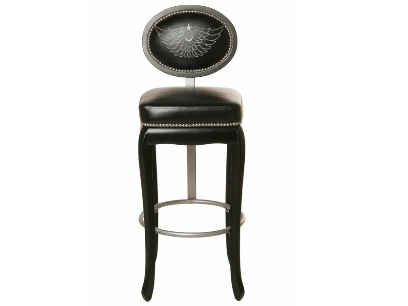 Upholstered barstool with footrest ROCKSTAR BLACK | Stool - KARE-DESIGN