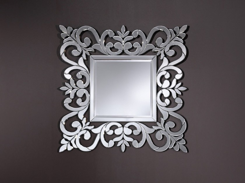 Square wall-mounted framed mirror ROCOCO - DEKNUDT MIRRORS
