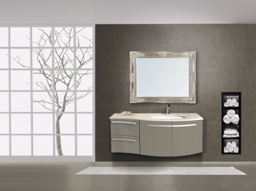 Lacquered wall-mounted vanity unit with drawers RODI CM02RO - LA BUSSOLA