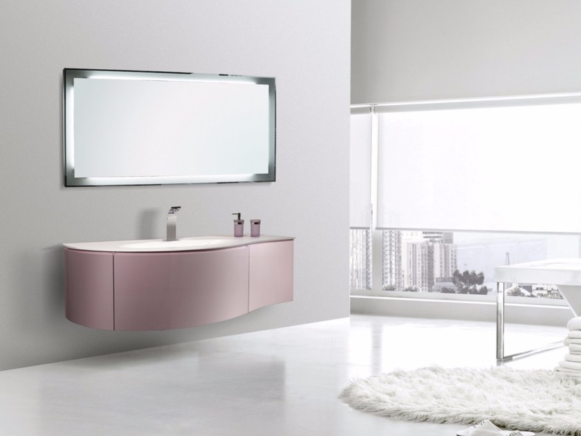Lacquered wall-mounted vanity unit with mirror RODI CM09RO - LA BUSSOLA