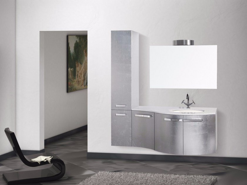 Lacquered wall-mounted vanity unit with mirror RODI CM10RO - LA BUSSOLA