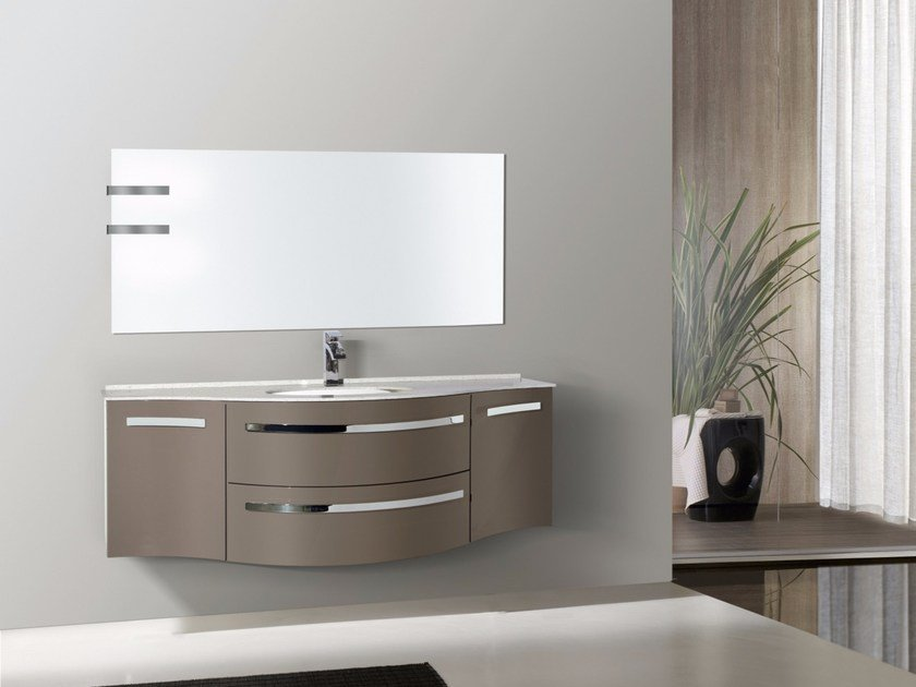 Lacquered wall-mounted vanity unit with mirror RODI CM11RO - LA BUSSOLA