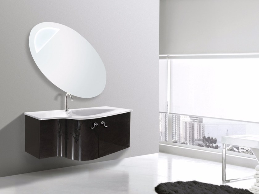 Lacquered wall-mounted vanity unit with mirror RODI CM13RO - LA BUSSOLA