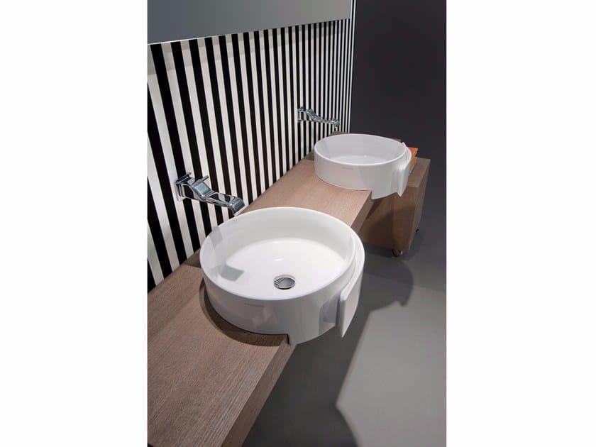 Semi-inset ceramic washbasin ROLL 44   Semi-inset washbasin - CERAMICA FLAMINIA