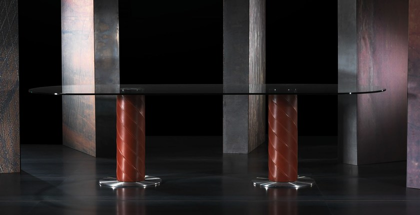 Oval tanned leather table ROLLING-2B | Oval table - ITALY DREAM DESIGN - Kallisté
