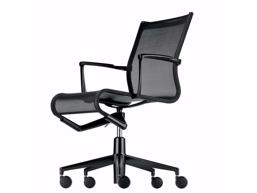 Height-adjustable swivel task chair with armrests ROLLINGFRAME+ LOW - 449 - Alias