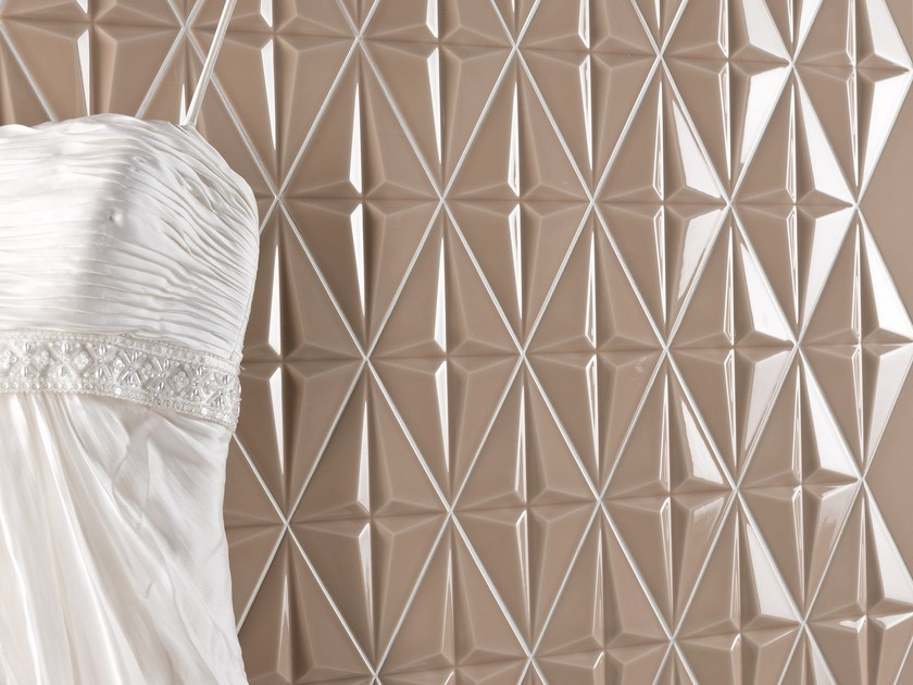 Indoor double-fired ceramic 3D Wall Tile SPACE CONCEPT - RHOMB by ETRURIA design