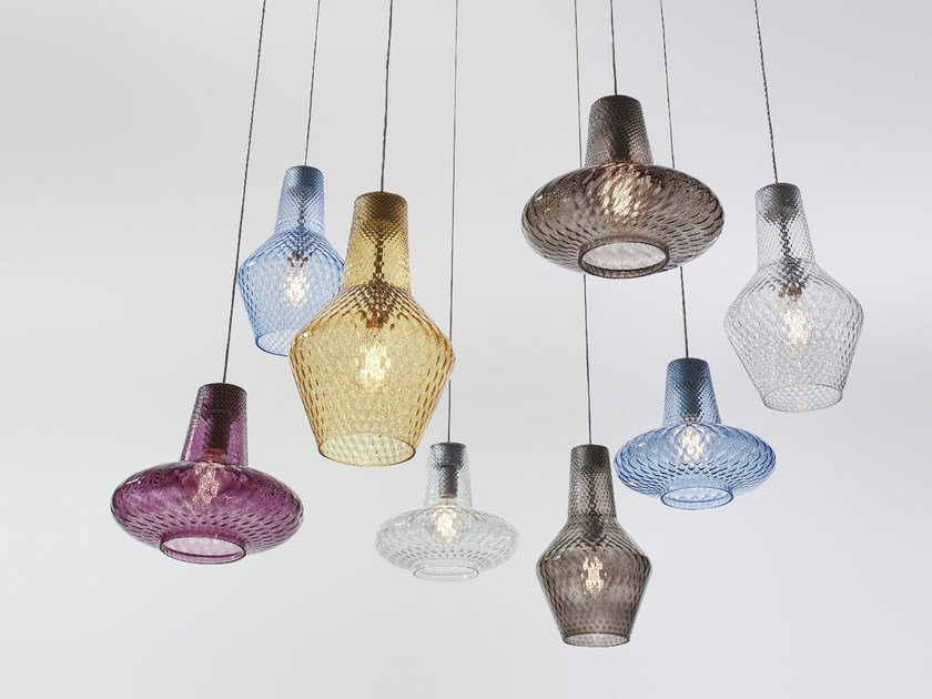 Blown glass pendant lamp ROMEO E GIULIETTA - Zafferano