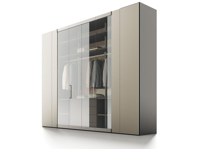 Sectional lacquered wood and glass wardrobe ROOMY | Wood and glass wardrobe by Caccaro