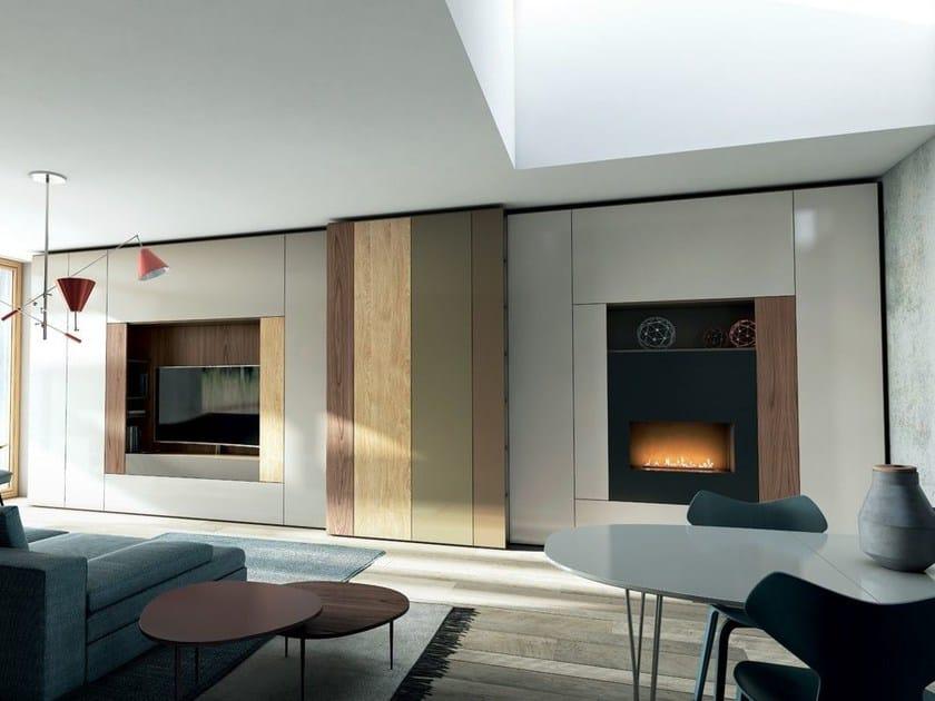 Parete attrezzata componibile laccata in stile moderno con for Aprire i piani casa artigiano concetto