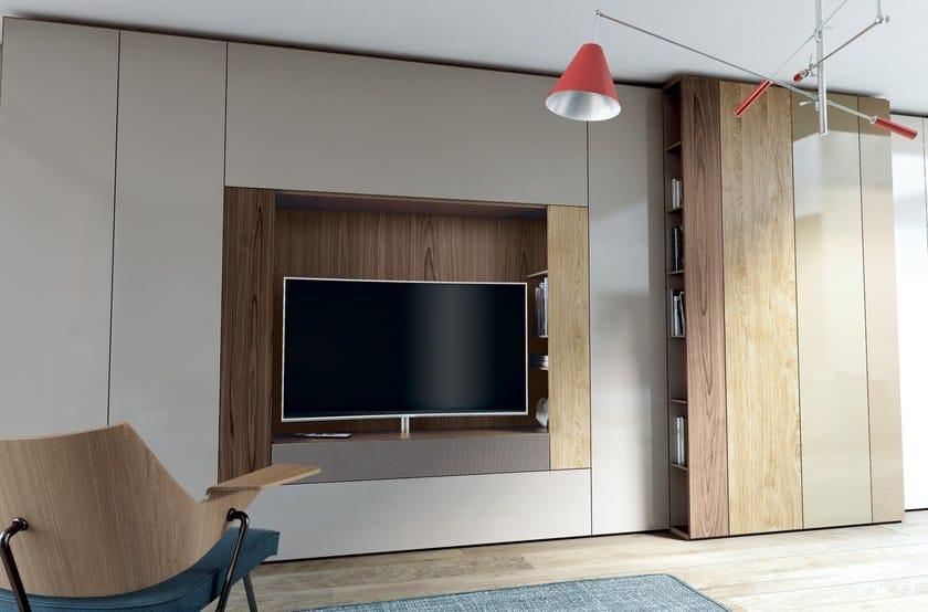 Parete attrezzata componibile laccata in stile moderno con porta tv roomy parete attrezzata - Caccaro mobili prezzi ...