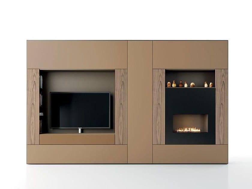 Parete attrezzata componibile laccata in stile moderno con porta tv roomy parete attrezzata - Parete attrezzata moderna con camino ...