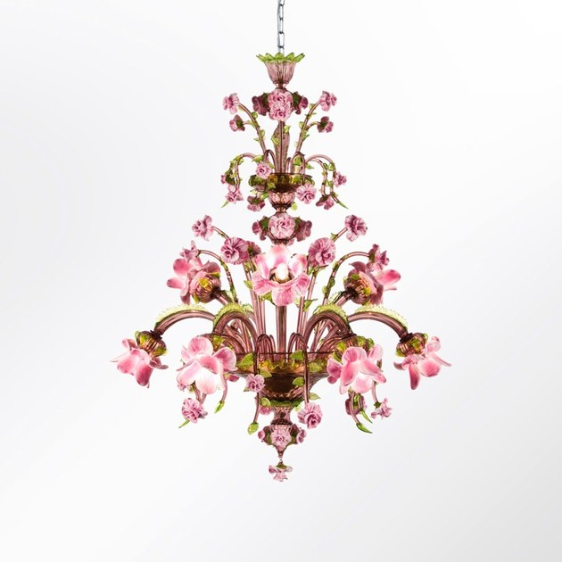 Classic style handmade glass chandelier ROSAE ROSARUM | Blown glass chandelier by MULTIFORME