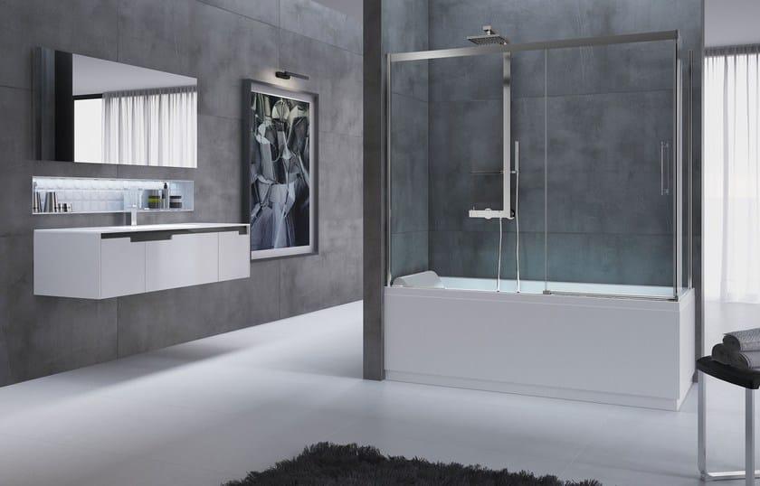 Classic style modular folding crystal bathtub wall panel ROSE ROSSE V - NOVELLINI