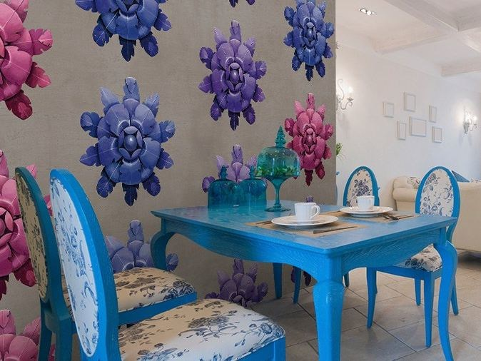 Vinyl wallpaper with floral pattern ROSETTE - GLAMORA