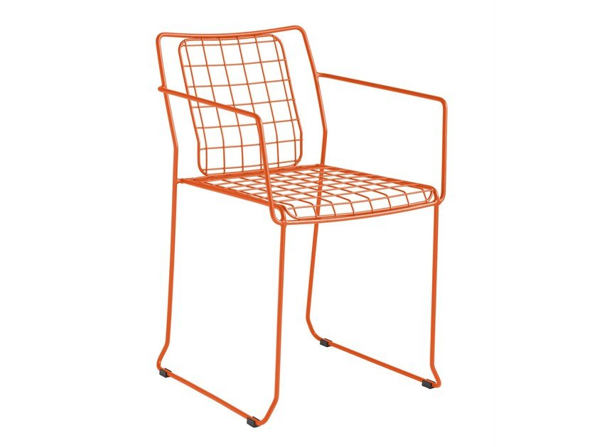 Sled base galvanized steel chair with armrests ROTTERDAM | Chair with armrests - iSimar