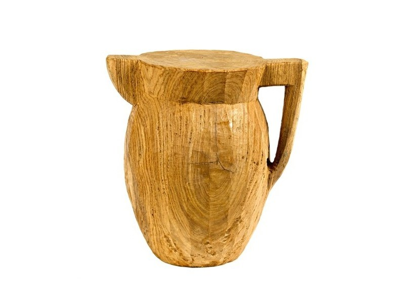 Wooden stool ROUND PITCHER - Pols Potten