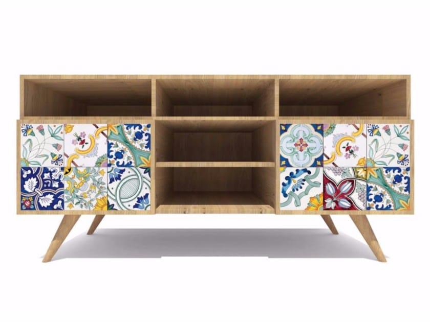 Wooden sideboard ROVERE MAIOLICATO | Sideboard - CERAMICA FRANCESCO DE MAIO