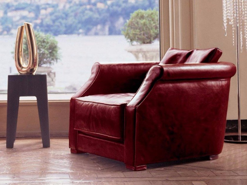 Leather armchair with armrests RUBENS - Longhi