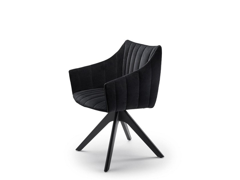 Trestle-based fabric chair with armrests RUBIE | Trestle-based chair - FREIFRAU