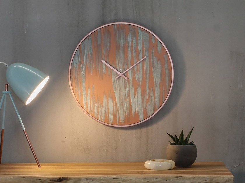 Wall-mounted wooden clock RUST COPPER by xline