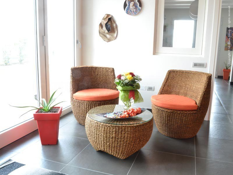 Relax, table-chairs set for outdoor and garden with rattan covering