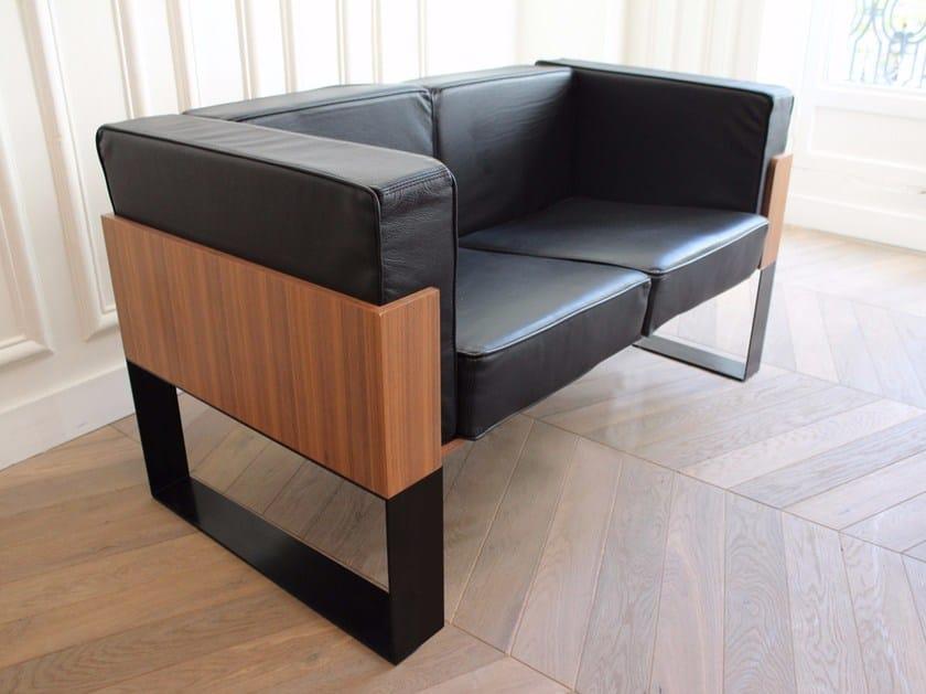 Sled base 2 seater leather sofa SÉVERIN | 2 seater sofa - Alex de Rouvray design