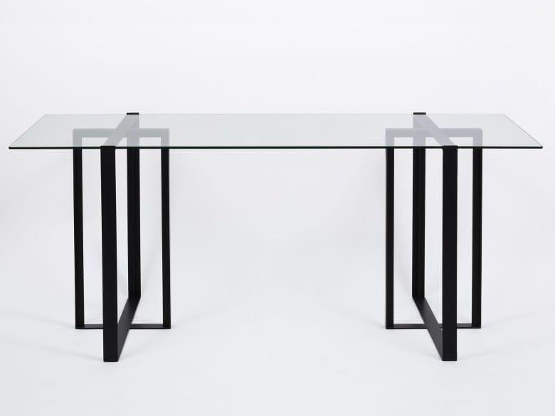 Tavolo scrivania in acciaio e vetro s verin scrivania for Tavolo alex b b