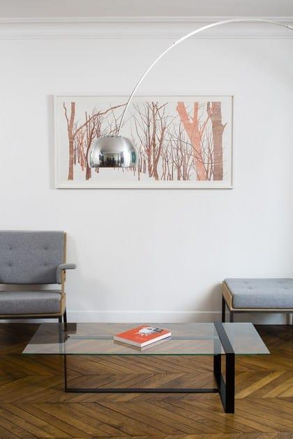 tavolino basso rettangolare in acciaio e vetro da salotto s verin tavolino basso alex de rouvray. Black Bedroom Furniture Sets. Home Design Ideas