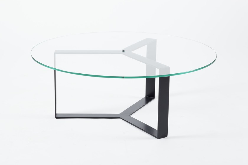 Low round glass and steel coffee table for living room SÉVERIN | Round coffee table - Alex de Rouvray design