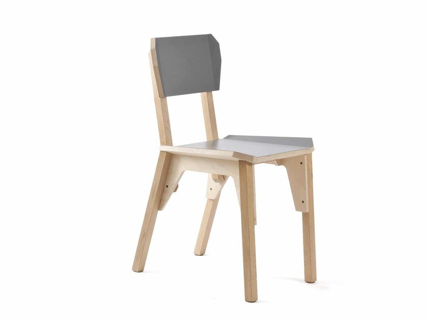 Stackable multi-layer wood chair 'S-CHAIR by Vij5