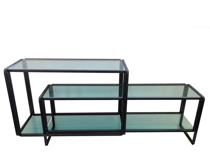 Glass and steel table S_LONG - Castellani.it